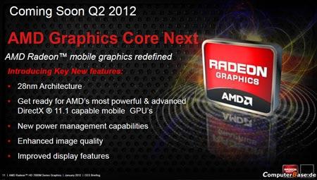 Мобильные 28-нанометровые GPU AMD выйдут в следующем квартале