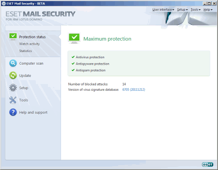 Интерфейс ESET NOD32 Mail Security для Lotus Domino