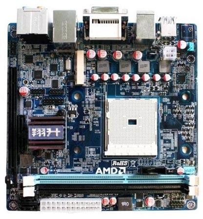 Системная плата Giada MI-A75 типоразмера Mini-ITX рассчитана на процессоры AMD в исполнении FM1
