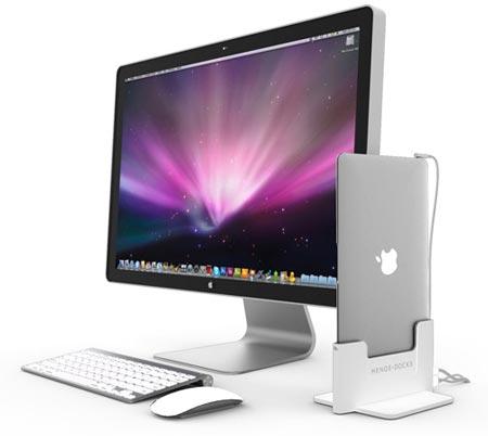 В стыковочной станции Henge Docks ноутбук MacBook Air размещается вертикально