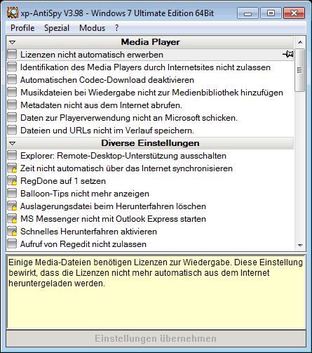 Интерфейс XP-AntiSpy
