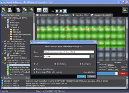 Интерфейс программы Active@ File Recovery for Windows