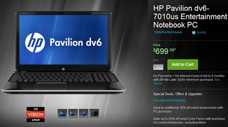 Стоимость HP Pavilion dv6-7010us в базовом исполнении — $700