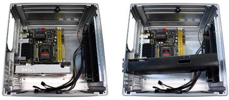 ZOTAC GeForce GTX 670 2GB TWINCOOLER в сравнении с референсной картой в компьютерном корпусе