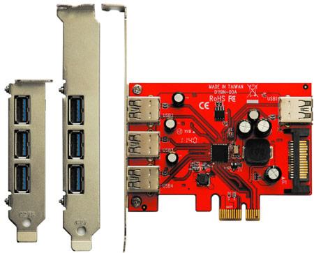 В продаже замечена карта расширения USB3.0R-P4-PCIe с четырьмя портами USB 3.0