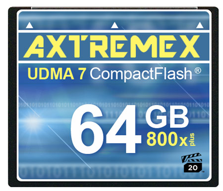 Axtremex Technology выпускает карты CompactFlash с маркировкой 800x и 800x Plus, соответствующие спецификации VPG Profile 1
