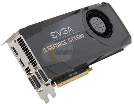 Изображение EVGA GeForce GTX 680 показывает, что и в EVGA сделали выбор в пользу референсного дизайна