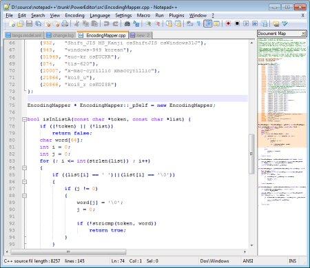 Интерфейс программы Notepad++