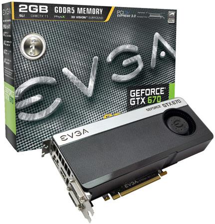 EVGA выпустила три модели 3D-карт GeForce GTX 670, две из которых разогнаны в заводских условиях