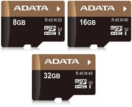 Карточки памяти ADATA Premier Pro microSDHC UHS-I U1 объемом до 32 ГБ развивают скорость до 45 МБ/с