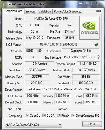 Базовая частота ядра GPU GIGABYTE GeForce GTX 670 WindForce OC равна 980 МГц