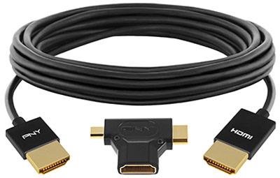 PNY комплектует активный кабель HDMI длиной 3,65 м переходником с разъемами mini-HDMI и micro-HDMI