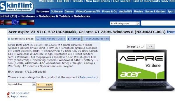 Acer Aspire V3-571G с NVIDIA GeForce GT 730M