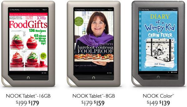NOOK Tablet стоит $159, NOOK Color — $139