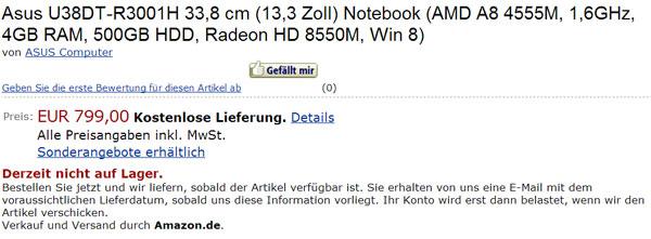 ASUS U38DT в каталоге Amazon.de