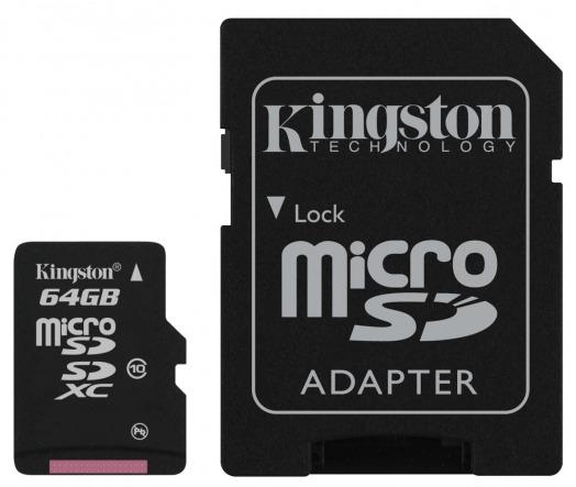 � Kingston ������ ����� ������ microSDXC Class 10 ������� 64 ��