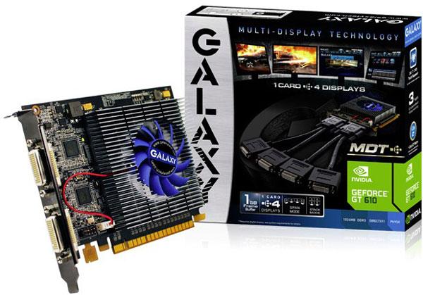 3D-карта Galaxy GeForce GT 610 MDT рассчитана на подключение четырех мониторов с интерфейсом DVI-I