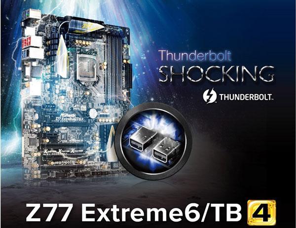 Системная плата ASRock Z77 Extreme6/TB4 оснащена двумя портами Thunderbolt