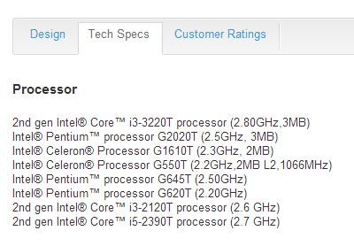 Процессоры Intel Celeron 1610T и Pentium G2020T замечены среди характеристик моноблока Dell Inspiron One 2020