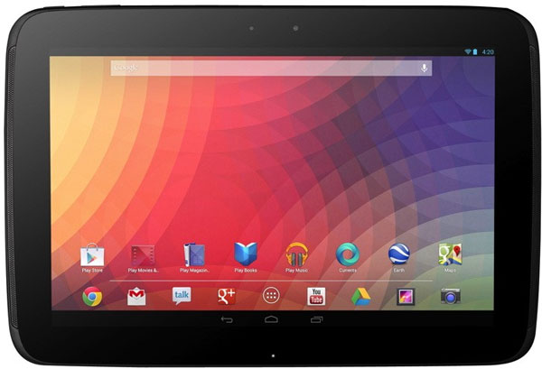 Разрешение экрана планшета Google Nexus 10 равно 2560×1600 пикселей