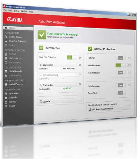 Интерфейс программы Avira Free Antivirus