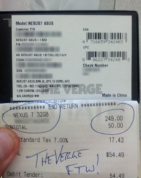 Продажи планшета Nexus 7 с 32 ГБ памяти начнутся 29 октября, но первые счастливчики уже получили новинку в свои руки