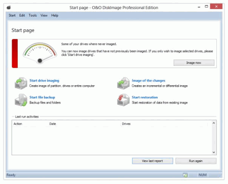Скриншот окна программы O&O DiskImage Professional