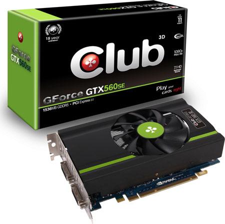 Club 3D увеличивает объем памяти 3D-карты GeForce GTX 560 SE до 1536 МБ