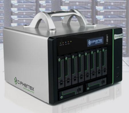 Объем портативного NAS-сервера в защищенном исполнение Ciphertex CX-10K-NAS равен 40 ТБ