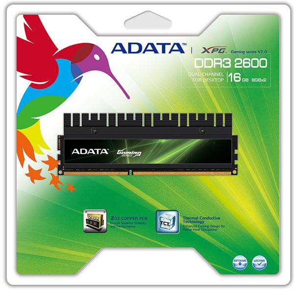 Модули Adata XPG Gaming v2.0 DDR3-2600 работают с задержками CL11-13-13-35 при напряжении питания 1,65 В