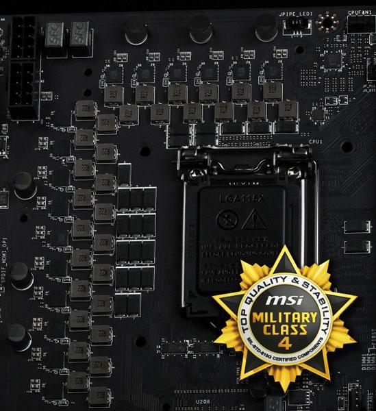 В подсистеме питания MSI Z87 XPower используются компоненты Military Class 4