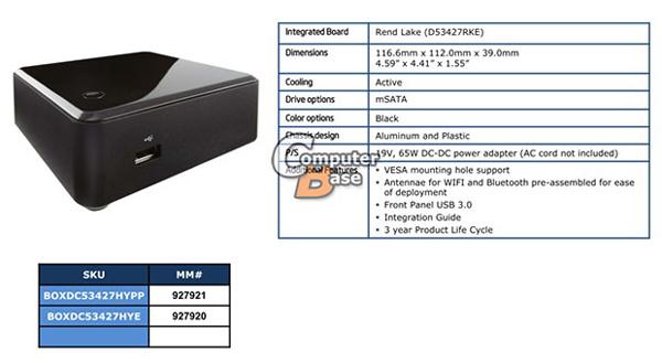 ���� ������ ����-�� Intel NUC �� ����������� Intel Core i7-3537U � Core i5-3427U � ������� �������