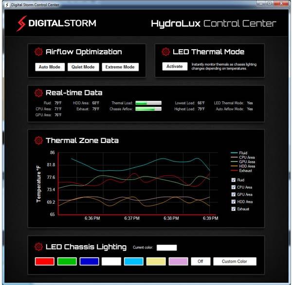 ��������� HydroLux Control Center ���� ������ ���������� � ������ ������� ����������