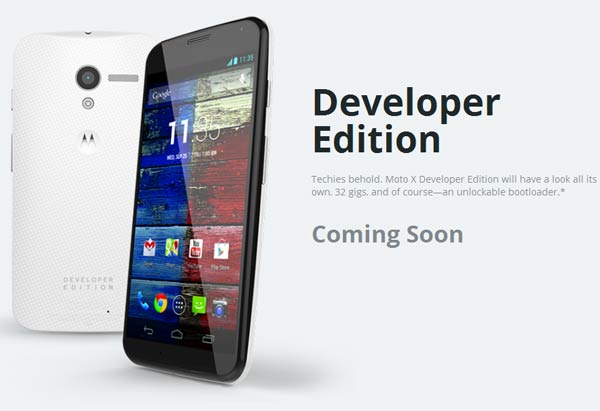 О цене и сроке начала продаж Moto X Developer Edition пока данных нет
