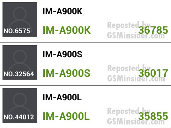 Аппараты Pantech Vega Secret Up IM-A900K, IM-A900S и IM-A900L набрали 36785, 36017 и 35855 баллов соответственно