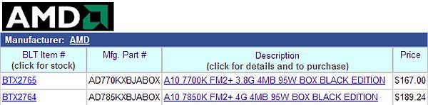 APU AMD A10-7700K и A10-7850K доступны для предварительного заказа в США