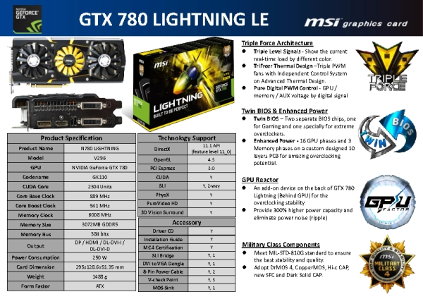 MSI GTX 780 Lightning LE