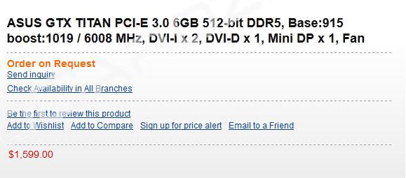 Видеокарта GeForce Titan замечена в австралийском магазине Austin Computers