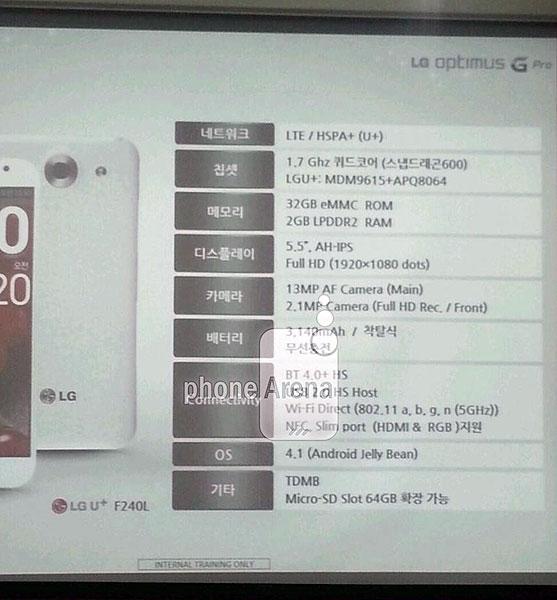 LG Optimus G Pro, спецификации