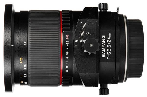 Объектив Samyang T-S 24mm f/3.5 ED AS UMC можно заказать в вариантах для камер Canon, Nikon и Sony