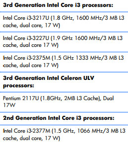 """Processor Intel Core i3-2375M «lit up"""" in the Service Manual HP laptops"""