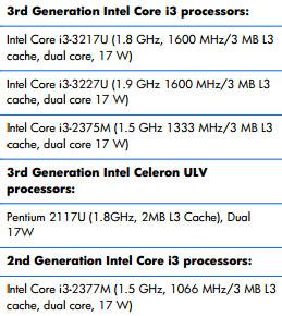 Процессор Intel Core i3-2375M «засветился» в  руководстве по сервисному обслуживанию ноутбуков HP