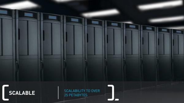 В одной стойке библиотеки Quantum Scalar i6000 HD помещается 5 ПБ данных