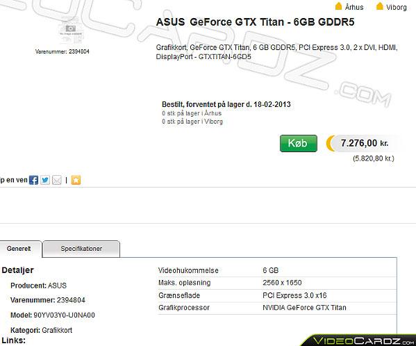 ASUS GeForce GTX Titan оценена датским магазином Proshop в $1300