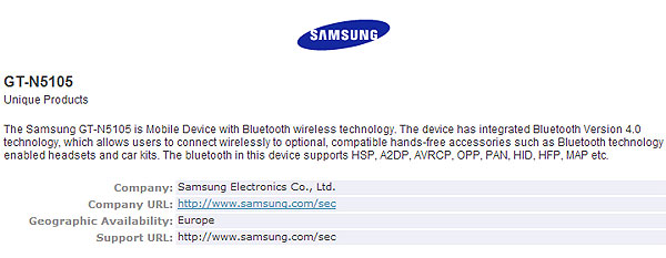 �� ��� ��� Samsung Galaxy Note 8.0 ���������� � ���� ������ ����� Bluetooth SIG