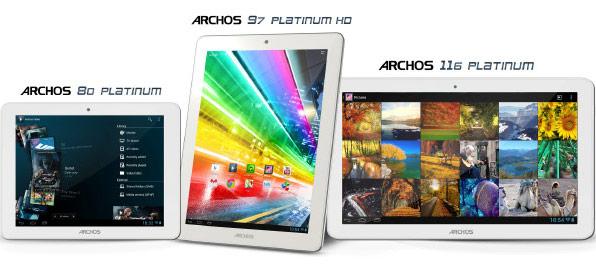 Одновременно представлены планшеты Archos 80 Platinum, Archos 97 Platinum HD и Archos 116 Platinum