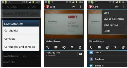 ABBYY Business Card Reader 3.0 для Android