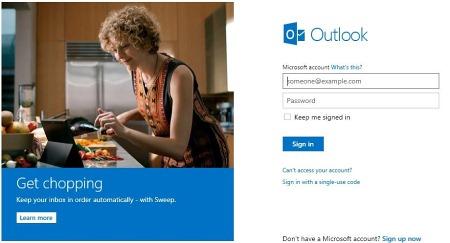 Интерфейс Outlook.com