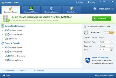 Скриншот рабочего окна Wise Disk Cleaner