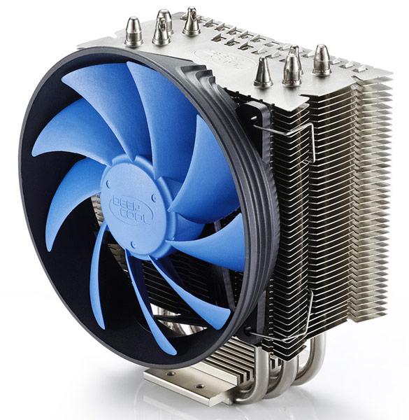 Конструкция процессорного охладителя Deepcool Gammaxx S40 включает четыре  тепловые трубки